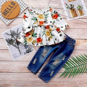 Floral Ruffle L/S Top Distressed Jeans Green 2 PC